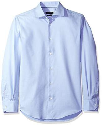 Bugatchi Men's Shaped Fit Point Collar Tonal Jacquard Dress Shirt
