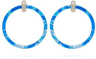 Balenciaga Two Tone Large Hoop Earrings - Womens - Blue