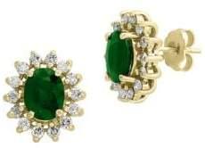 Effy 14K Yellow Gold, Diamond & Emerald Prong Halo Earrings