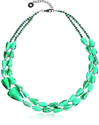 Antica Murrina Veneziana Marina 1 Double - Turquoise Green Murano Glass and Silver Leaf Necklace