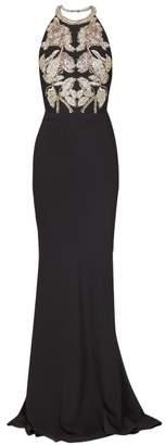 Alexander McQueen Crystal Embellished Halterneck Crepe Gown - Womens - Black