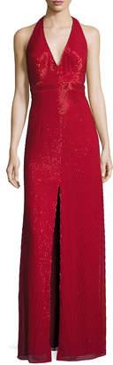 Aidan Mattox Sleeveless Beaded Column Gown, Red