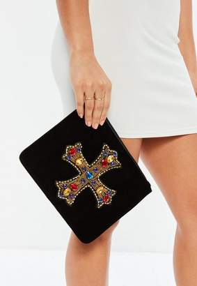 Missguided Velvet Jewelled Gothic Cross Clutch Bag