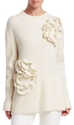 Akris Punto Flower Rib-Knit Pullover