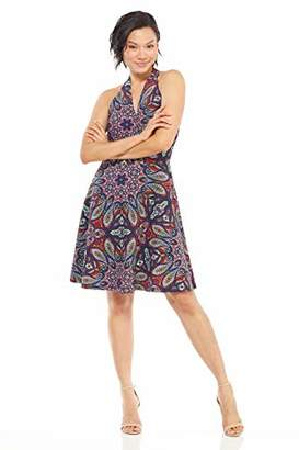 London Times Women's Petite Halter V Neck FIT and Flare Dress