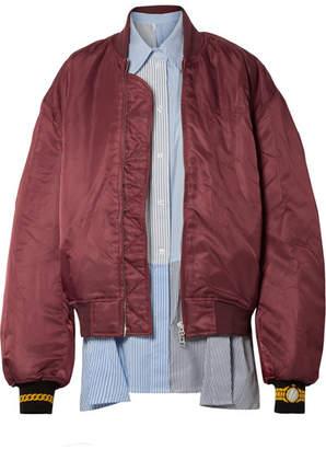 Pushbutton - Oversized Layered Shell And Poplin Striped Bomber Jacket - Claret