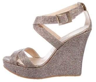 Jimmy Choo Glitter Wedge Sandals