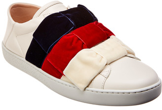 Gucci Ace Velvet Bow & Leather Sneaker