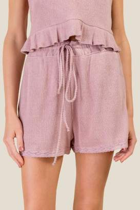 francesca's Shannon Cozy Lace Trim PJ Shorts - Light Rose