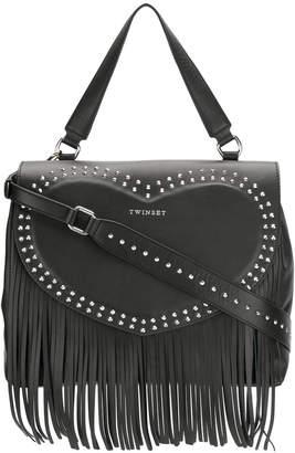 Twin-Set fringe detail studded shoulder bag