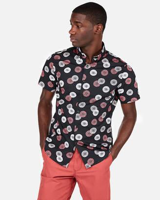 Express Slim Dot Print Short Sleeve Button-Down Shirt