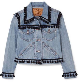 Marc Jacobs Cropped Pompom-embellished Denim Jacket - Blue