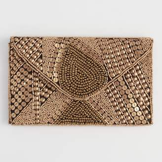 Cost Plus World Market Black And Gold Art Deco Beaded Clutch