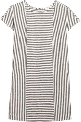 Madewell - Daphne Striped Linen-blend Mini Dress - Gray $100 thestylecure.com