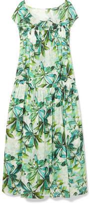 Eywasouls Malibu - Caroline Printed Cotton-voile Maxi Dress - Bright green