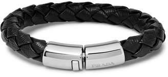 Prada Woven Saffiano Leather And Silver-Tone Bracelet