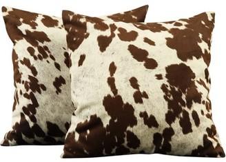 "Weston Home Chelsea Lane Maxfield 18"" Square Brown Cowhide Print Throw Pillow, Set of 2 Brown Cowhide Pillows"