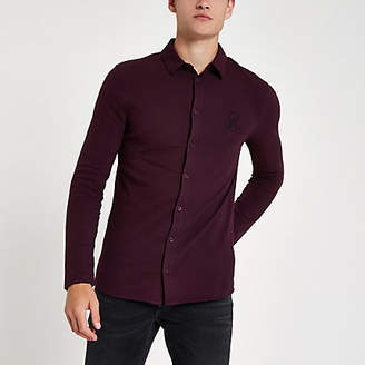 River Island Dark red pique muscle fit long sleeve shirt