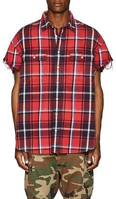 R 13 Men's Plaid Distressed Cotton Shirt