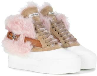 Miu Miu Suede and shearling sneakers