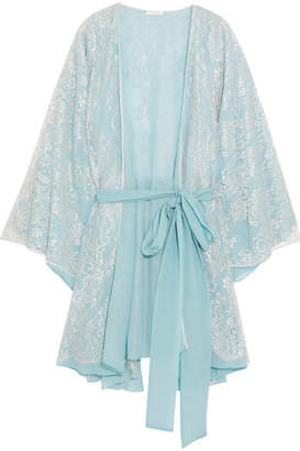 Rosamosario - Cosmic Love Chantilly Lace And Silk-crepe Robe - Sky blue