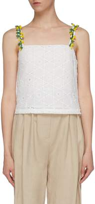 STAUD 'Maca' glass bead strap broderie anglaise camisole top