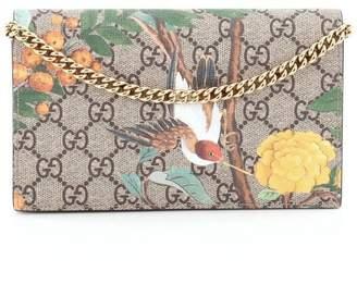 Gucci Chain Wallet Crossbody GG Supreme Tian Mini Brown