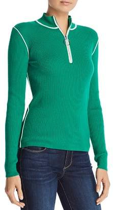 Maje Mandou Ribbed Zip Front Sweater