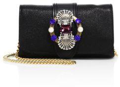Miu MiuMiu Miu Crystal-Embellished Madras Leather Chain Crossbody Bag