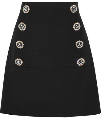 Dolce & Gabbana - Embellished Wool-blend Mini Skirt - Black $1,195 thestylecure.com
