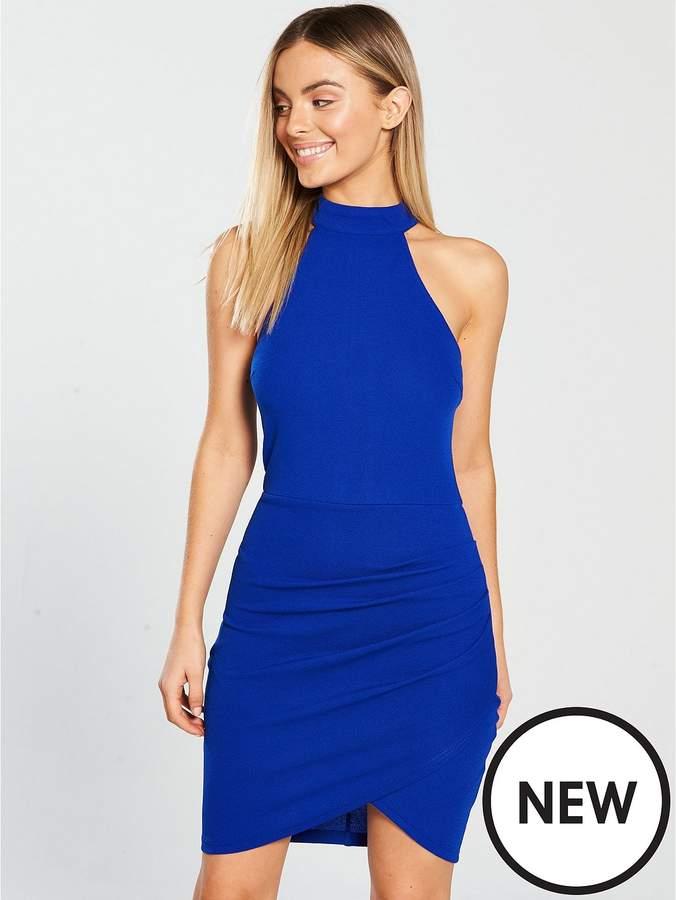 Halterneck Ruched Front Mini Dress - Cobalt Blue