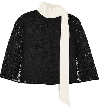 Valentino Cape-effect Crepe-trimmed Corded Lace Top - Black