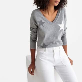 Express SUD Star Motif Fine Knit V-Neck Jumper