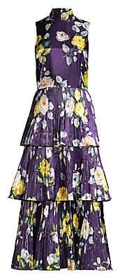 Flor et. al Women's Floral Pleated Midi Dress - Size 0