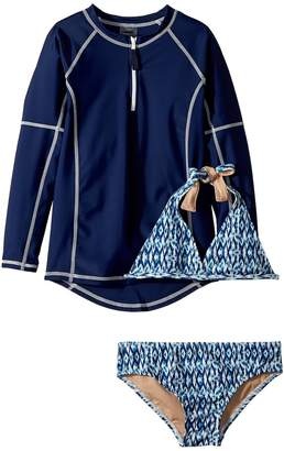 Toobydoo Tropical Blue Bikini Rashguard Set Girl's Swimwear Sets