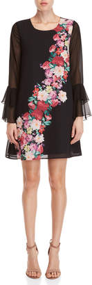 Yumi Watercolor Rose Placement Tunic Dress