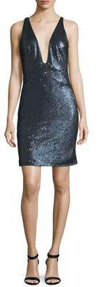 Halston Sleeveless Plunging Sequined Mini Cocktail Dress