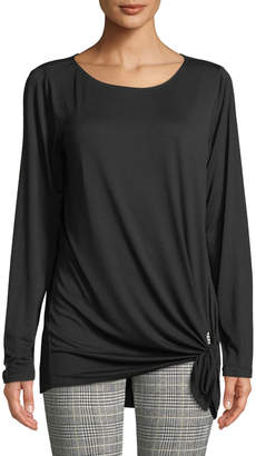 Max Studio Long-Sleeve Side-Tie Tee, Black