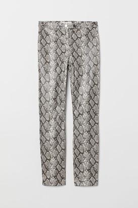 H&M Snakeskin-patterned Pants - Black