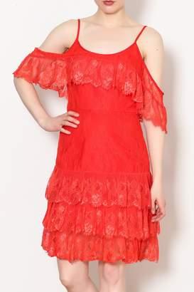 ML Monique Lhuillier Lace Cold Shoulder Dress