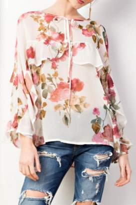 Easel Floral Ruffle Blouse