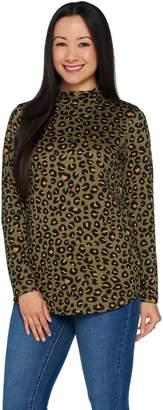 Denim & Co. Heavenly Jersey Animal Print Long Sleeve Mock Neck Tunic