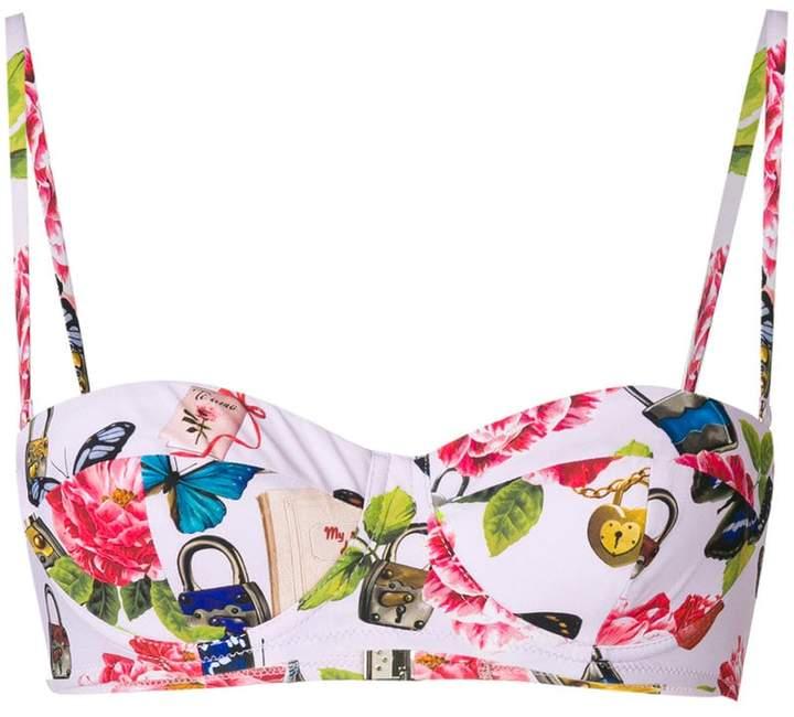 Secret print balcony bikini top