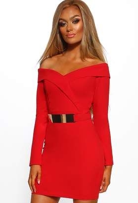 4c566577780 Pink Boutique Out On The Town Red Bardot Belted Bodycon Mini Dress