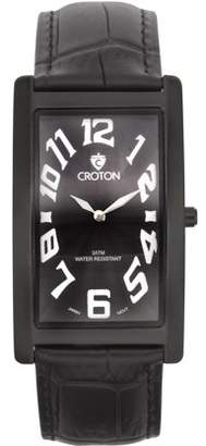 "Croton Men's ""Aristocrat"" IP Black Curved Rectangular Stainless Watch with Black Dial"