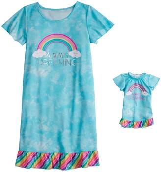 So Girls 4-16 & Plus Size SO Short Sleeve Dorm Nightgown & Doll Nightgown Set
