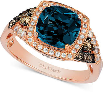 LeVian Le Vian Deep Sea Blue Topaz (2-3/8 ct. t.w), Vanilla Diamond (1/5 ct. t.w.) and Chocolate Diamond (1/5 ct. t.w.) Ring in 14k Rose Gold