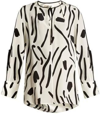 DIANE VON FURSTENBERG Chatham-print silk crepe de Chine blouse $253 thestylecure.com