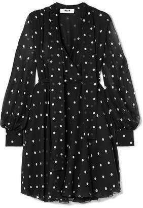 MSGM Pussy-bow Polka-dot Silk-chiffon Dress - Black
