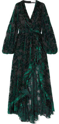 Caroline Constas Olivia Open-back Flocked Chiffon Gown - Emerald